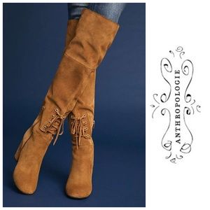 ANTHROPOLOGIE Elysess Over-The-Knee Lace-Up Boots